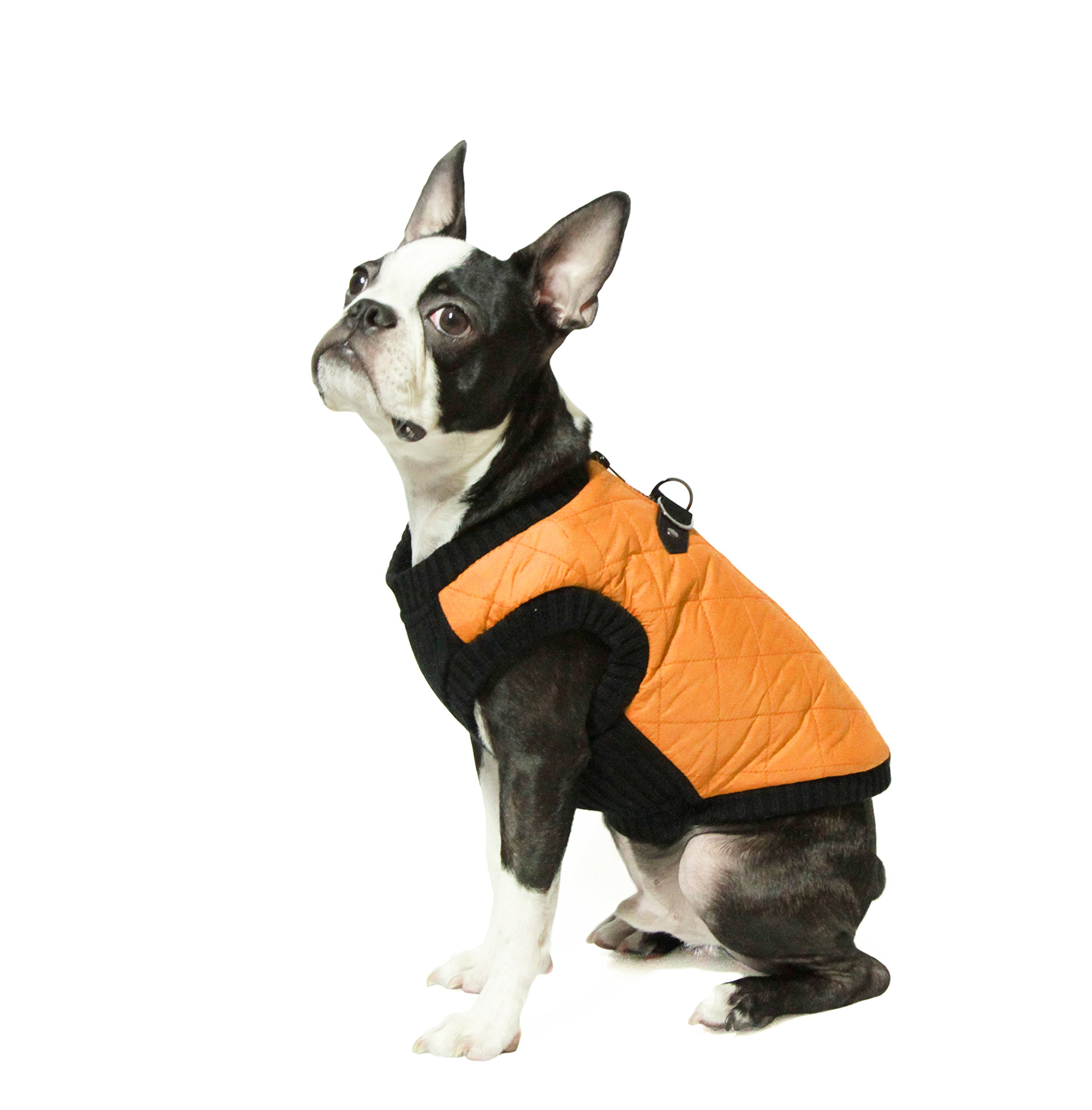 Gooby - Fashion Vest, Small Dog Sweater Bomber Jacket Coat with Stretchable Chest, Orange, Large