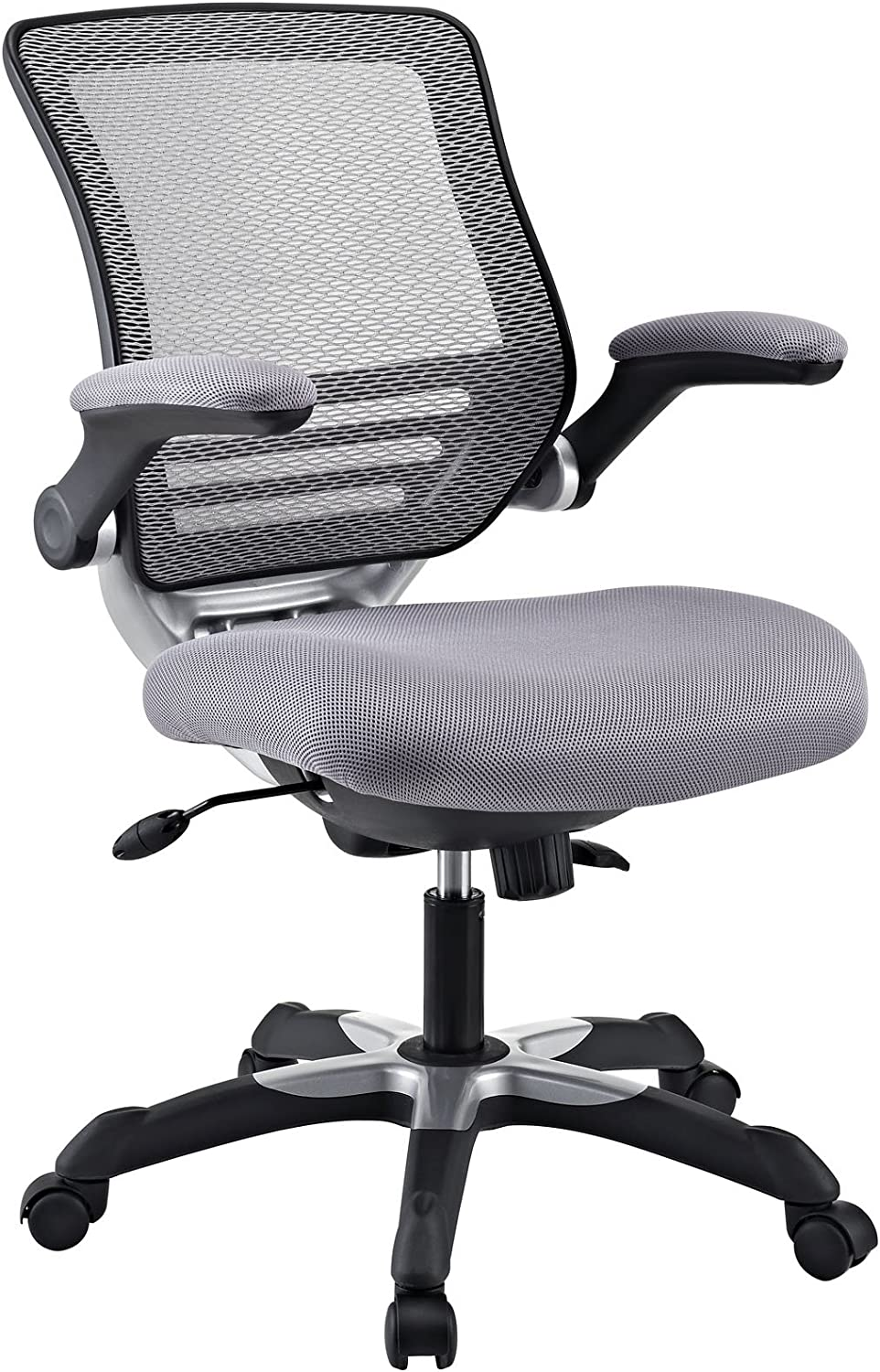 Modway Edge Mesh Back and Mesh Seat Office Chair In Black With Flip-Up Arms - Perfect For Computer Desks