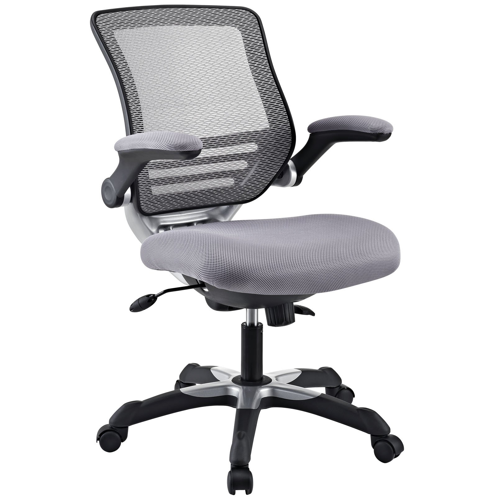 Modway Edge Mesh Back and Gray Mesh Seat Office Chair With Flip-Up Arms - Ergonomic Desk And Computer Chair by Modway