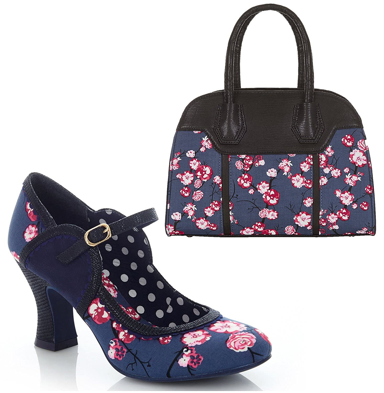 Ruby Shoo Women's Black Rosalind Mary Jane Pumps & Matching Cancun Bag UK 5 EU 38