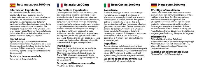 Rosa Mosqueta 2000mg - 240 cápsulas - Hasta 8 meses de suministro - Para el mantenimiento de las articulaciones - Fuente natural de Vitamina C ...