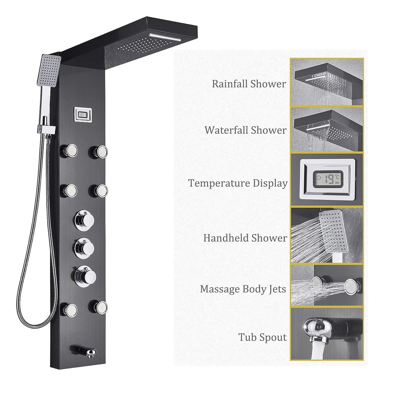 Rozin Thermostatic Rain Waterfall Shower Panel Set Tub Spout + Massage Body Jets + Handheld Spray Ti-Black Finish - - Amazon.com