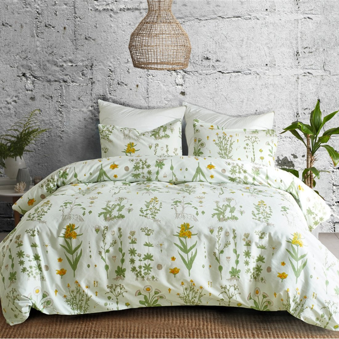 3 PCs Botanical Duvet Cover Set, Modern Flowers Printed Boho Comforter Cover Bedding Sets with Zipper Ties by Smoofy (Image #1)