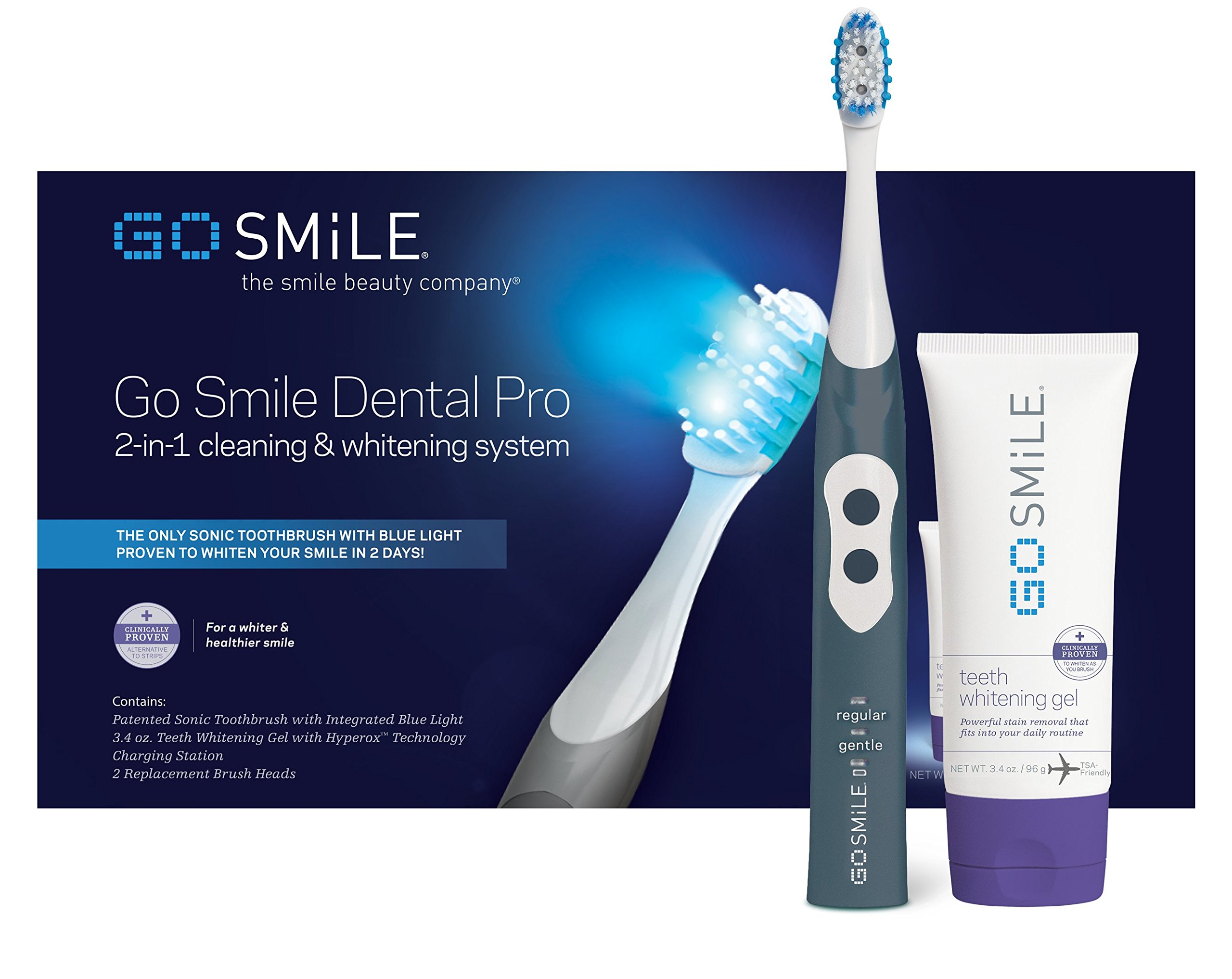 Go Smile Ultimate 2-In-1 Teeth Whitening System Sonic Toothbrush & Fast-Acting Teeth Whitening Gel For Healthier & Brighter Teeth   Powerful Teeth Whitener Removes Stains & Plaque   Graphite