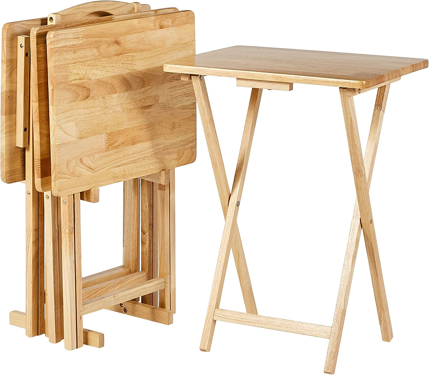 AmazonBasics Classic TV Dinner / Snack 4 Table Set with Holder - Natural