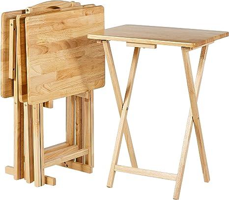 set da 4 tavolini alti pieghevoli per snack//cena Basics Espresso stile classico con rastrelliera