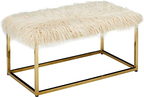 Christopher Knight Home Mallory Fauc Furry Long Fur Ottoman with Stainless Steel Frame, Beige Steel Golden