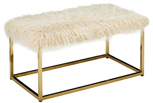 Christopher Knight Home Glam Faux Furry Beige Long Fur Ottoman with Gold Finish Stainless Steel Frame