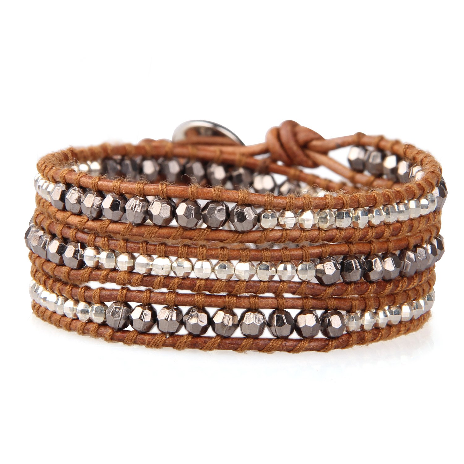 KELITCH Handamde Natural Leather 3 Wrap Bracelet New Top Silver Gun Black Beaded Bangles