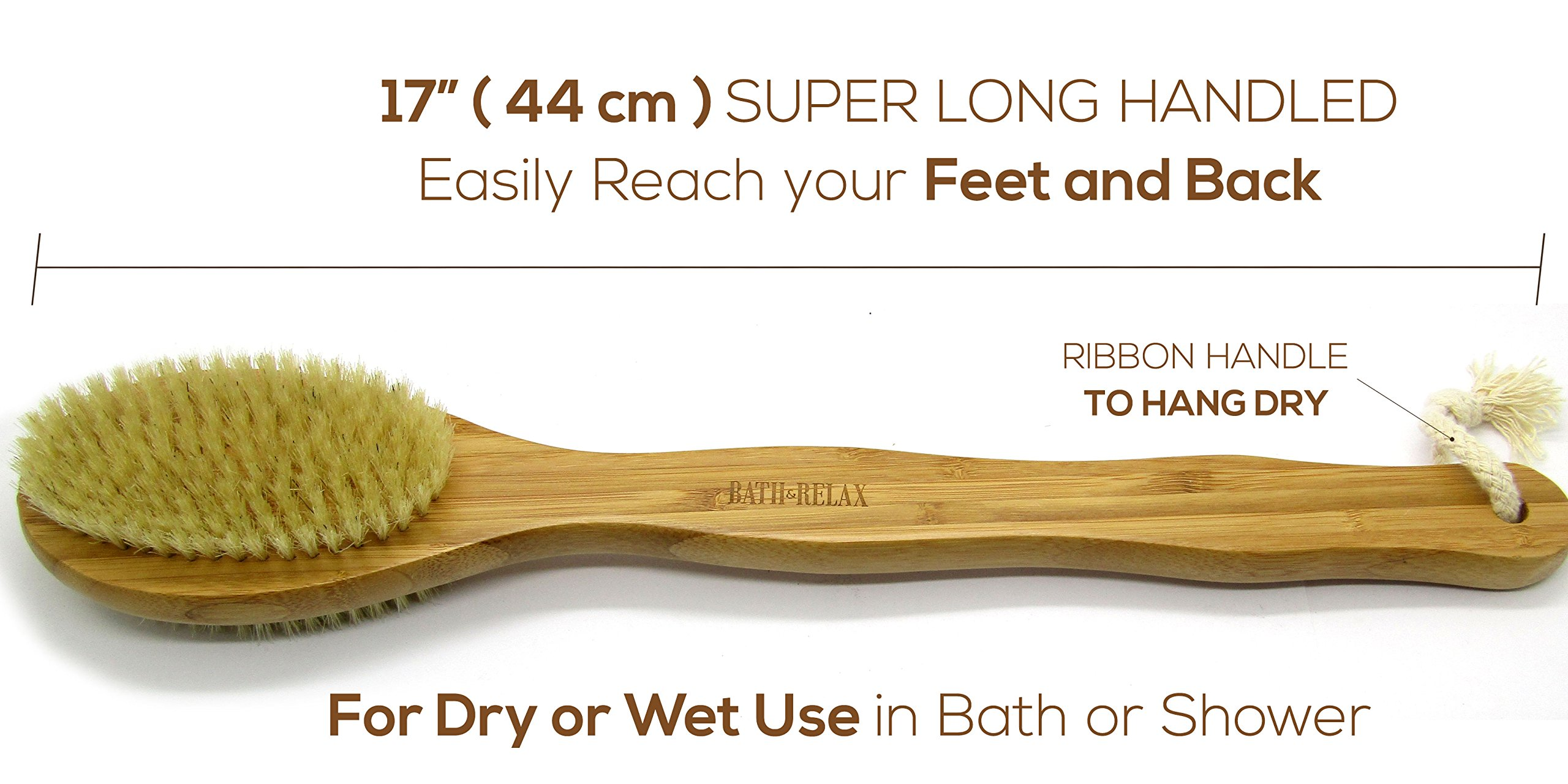 Bath & Relax Bamboo Bath Brush Long 17'' Handle Back Body Scrubber For shower dry/Wet Skin brushing Suitable for men/women by Bath & Relax (Image #5)