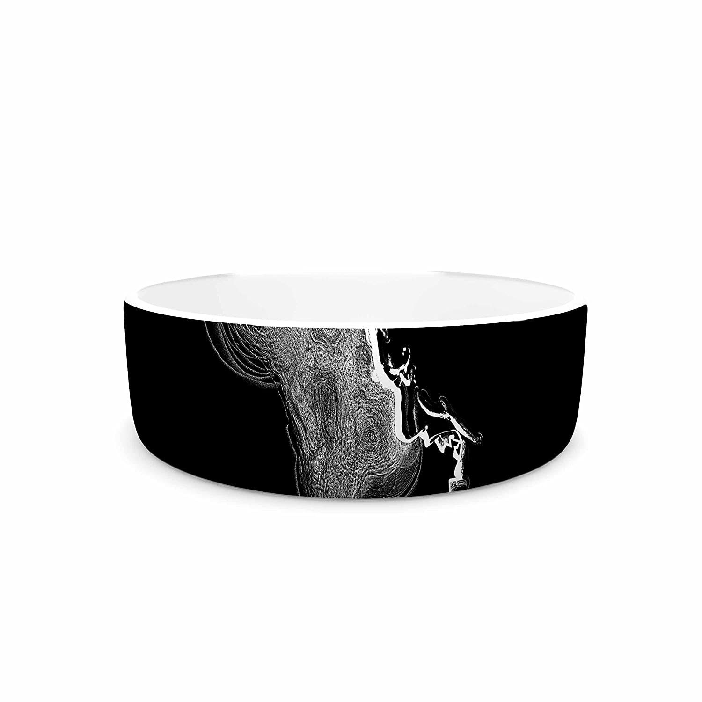7\ KESS InHouse Barmalisirtb The Staircase Mystery White Fantasy Pet Bowl, 7