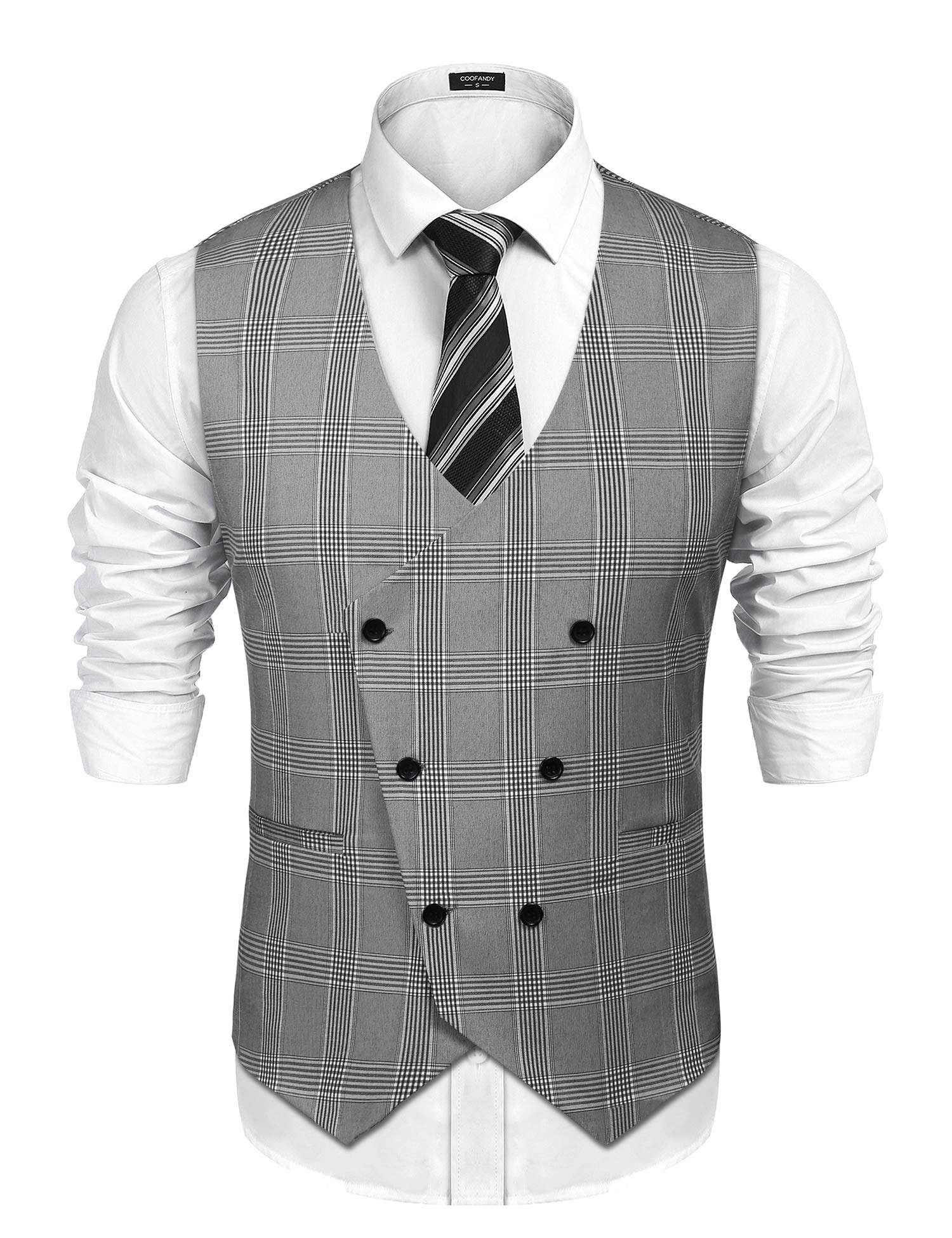 COOFANDY Men's V-Neck Sleeveless Slim Fit Vest Jacket Business Suit Dress Vest, Grey, X-Large by COOFANDY