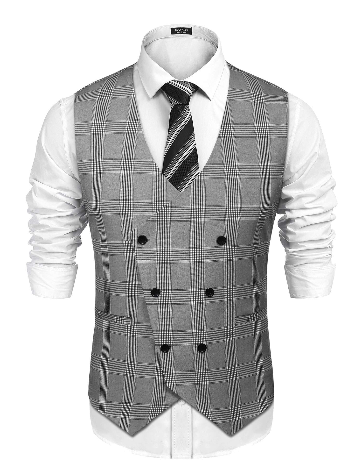 COOFANDY Men's Suit Vest Designer Plaid V-Neck Double Breasted Slim Fit Business Dress Waistcoat