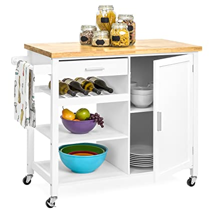 Gentil Amazon.com   Best Choice Products Mobile Kitchen Island Storage Cocktail  Cart W/Wine Shelf U0026 Towel Rack   White   Kitchen Islands U0026 Carts