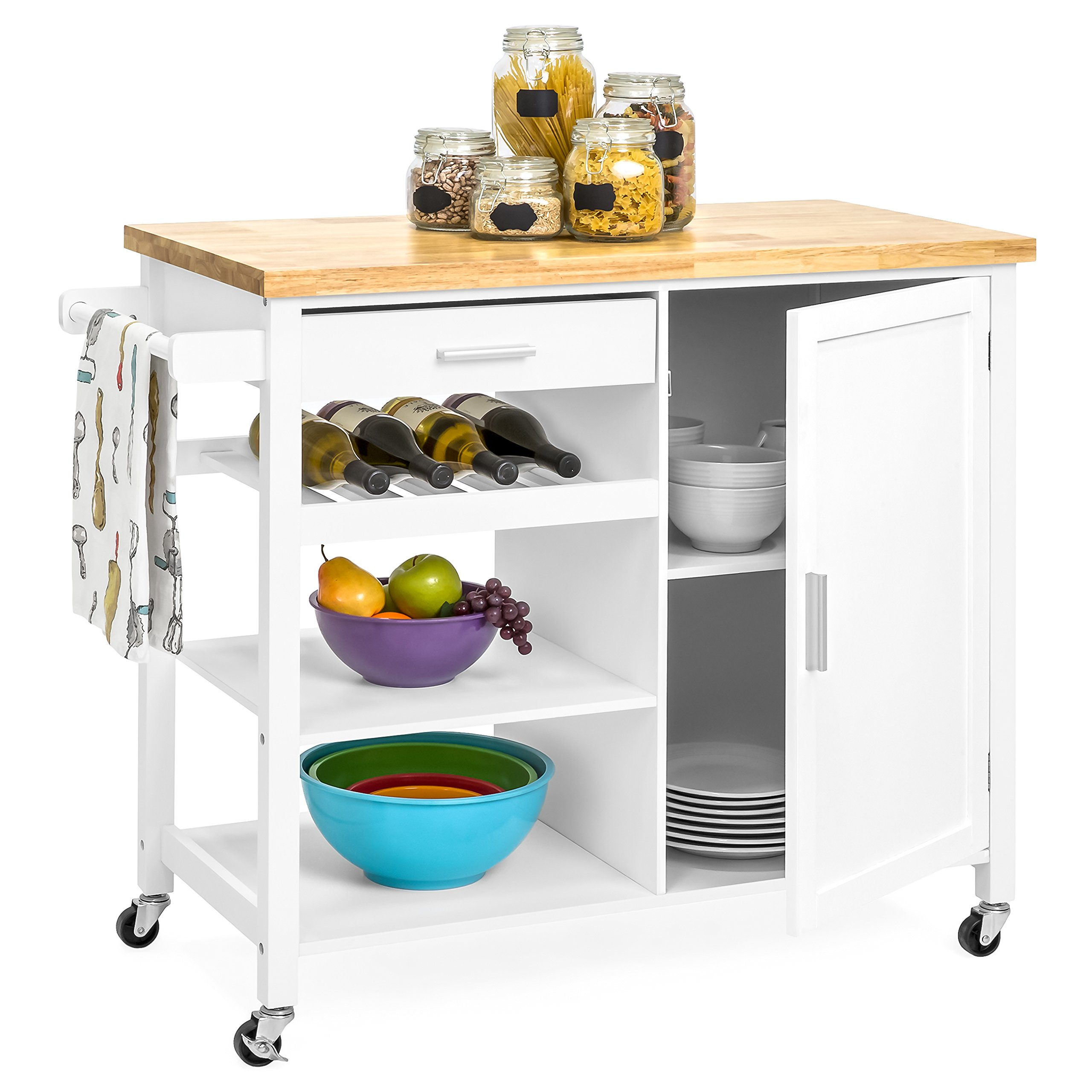 Best Choice Products Portable Kitchen Island Cocktail Cart for Serving, Storage, Décor w/Wood Top, Wine Shelf, Cabinet, Drawer, Towel Rack - White