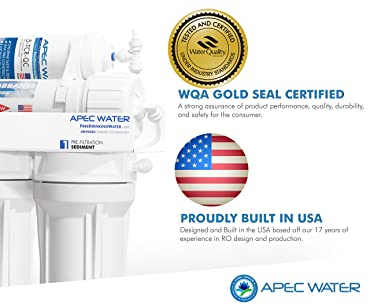 APEC Water RO90 - Top Tier - Built in USA - Certified Ultra Safe, High-Flow 90 GPD