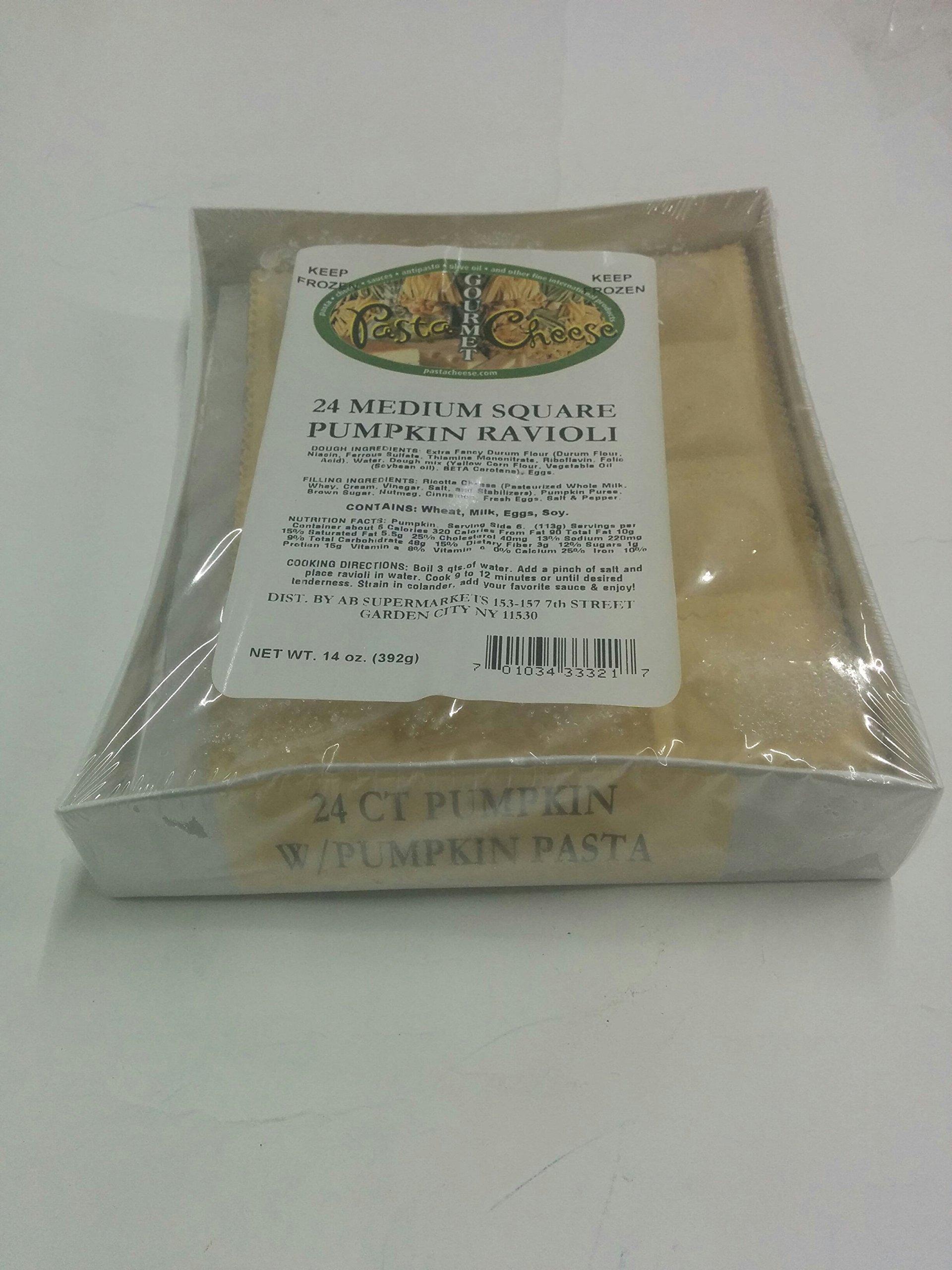 PastaCheese Fresh Medium Square Pumpkin Ravioli, 14 Ounce (Pack of 4)