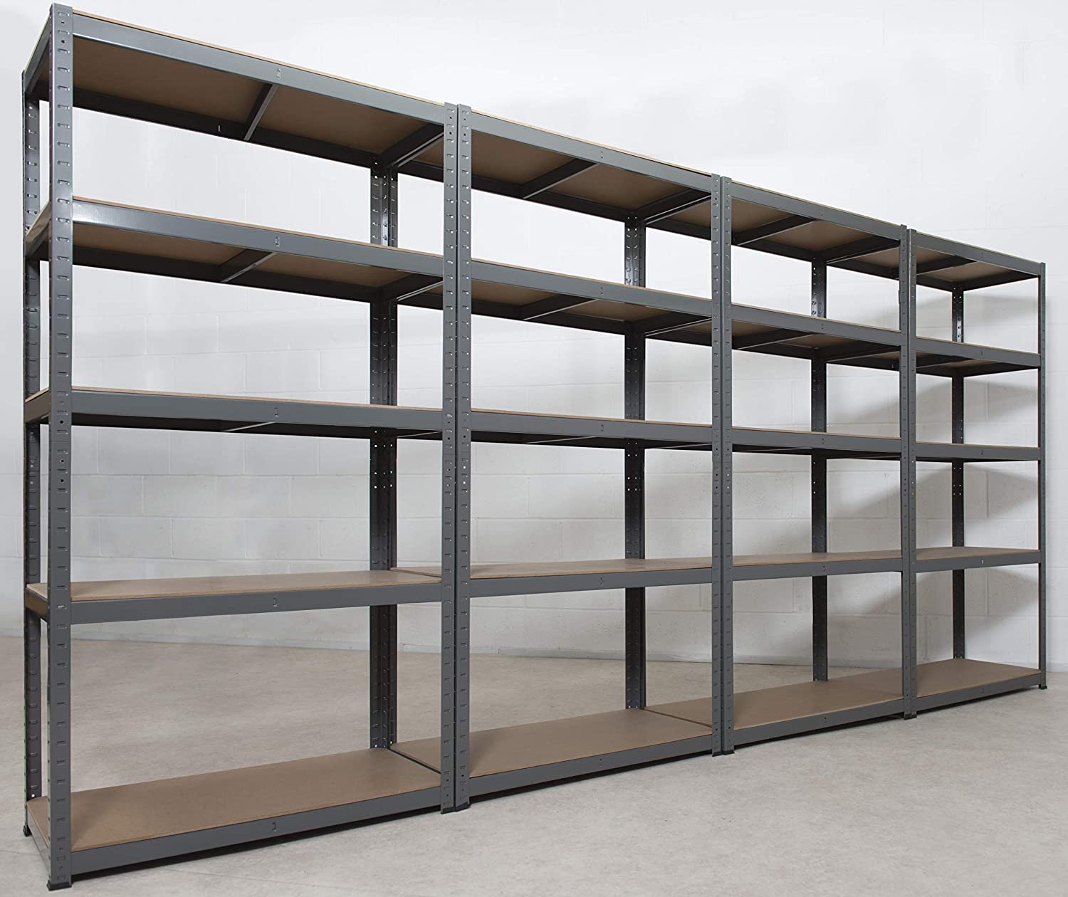 Storage Affairs Extra Heavy Duty Shelving 4 Units 176x90x45 Cm 265kg Per Shelf Grey 5 Tier Garage Storage Racking 5 Adjustable Shelves Boltless Assembly For Shed Home