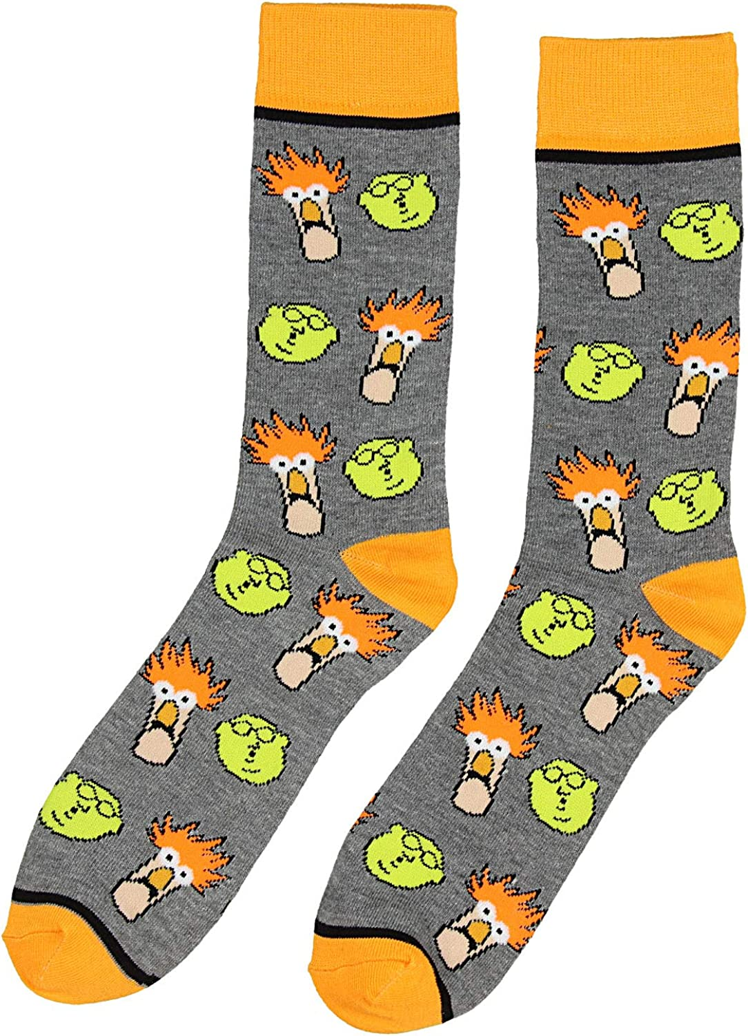 THE MUPPETS Kermit The FROG Gonzo ANIMAL New Men/'s 5 Pair CREW SOCKS SIZE 8-12