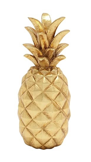 deco 79 62362 poly stone gold pineapple home decor product - Amazon Home Decor