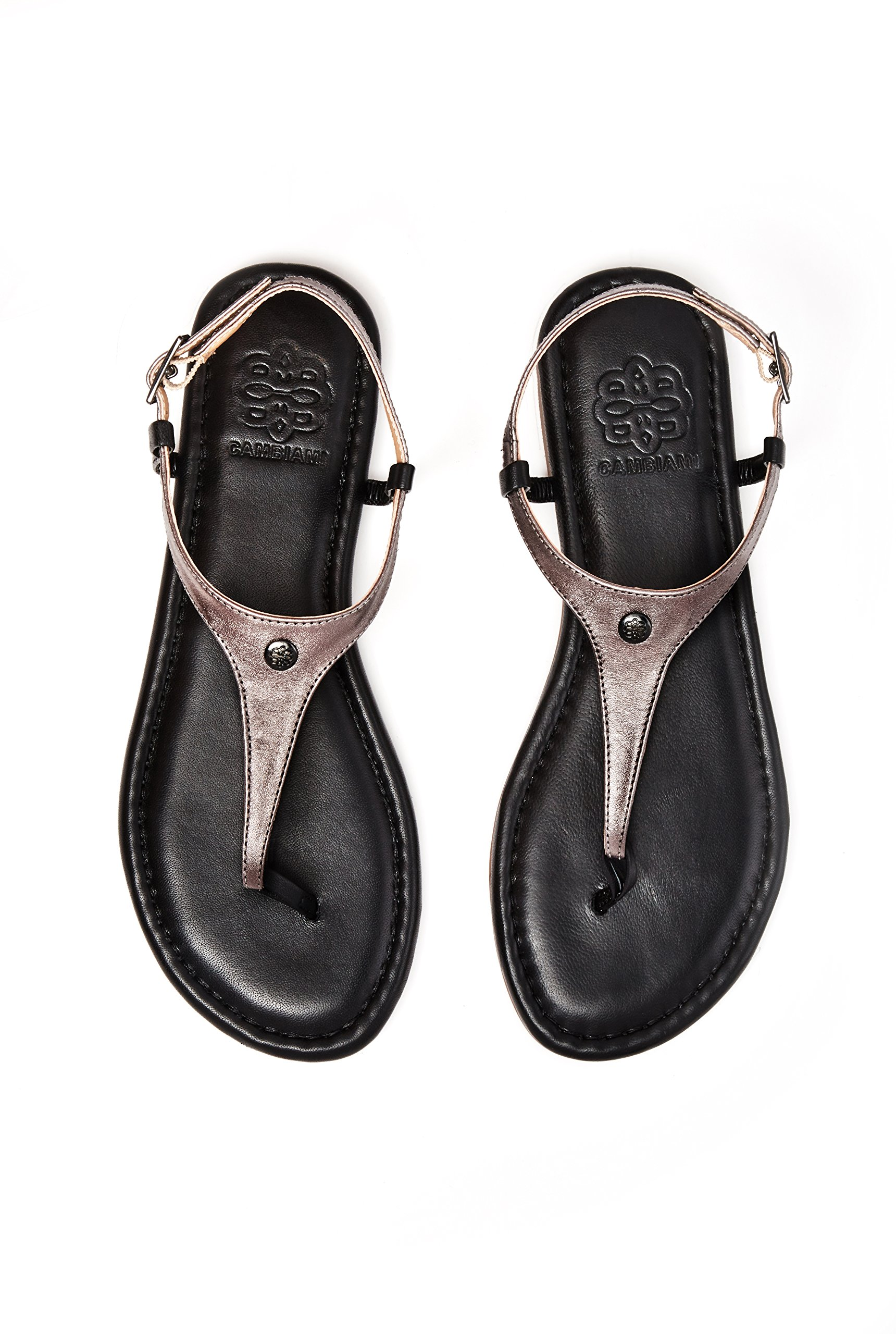 CAMBIAMI Black Leather T-Strap Slingback Flat Sandals - Includes Three Interchangeable Strap Sets (Black, Pewter, Snake Print) & Black Sole - Stylish & Comfortable - Women's Size 8 by CAMBIAMI (Image #8)