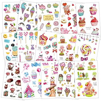 SZSMART Tatuajes Temporales para Niñas, 15 Hojas Pegatinas Dibujos Postre Tatuaje Falso para Infantiles de Cumpleaños Regalo