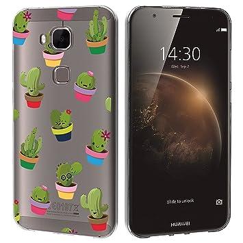 Funda carcasa TPU Transparente para Huawei G8 diseño estampado cactus macetas