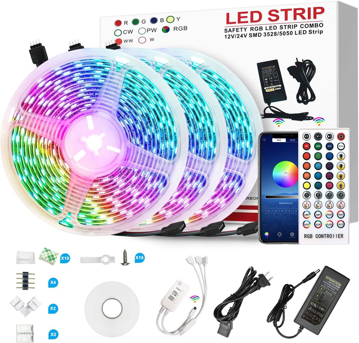 LED Strip Lights 10M 50FT RGB Color changing 44Key Remote Rooms Xmas Tape Lights