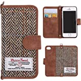 iPhone 7 Plus Case Cover, iPhone 8 Plus Flip Leather Wallet Case Genuine [ Harris Tweed ] Folio Book Cover with 2 Card Holder and 1 Cash Slots, MONOJOY Premium iPhone 7 8 Plus Screen Protector Case with [Magnetic Closure] [Keyring], Stylish, Retro,Handmade