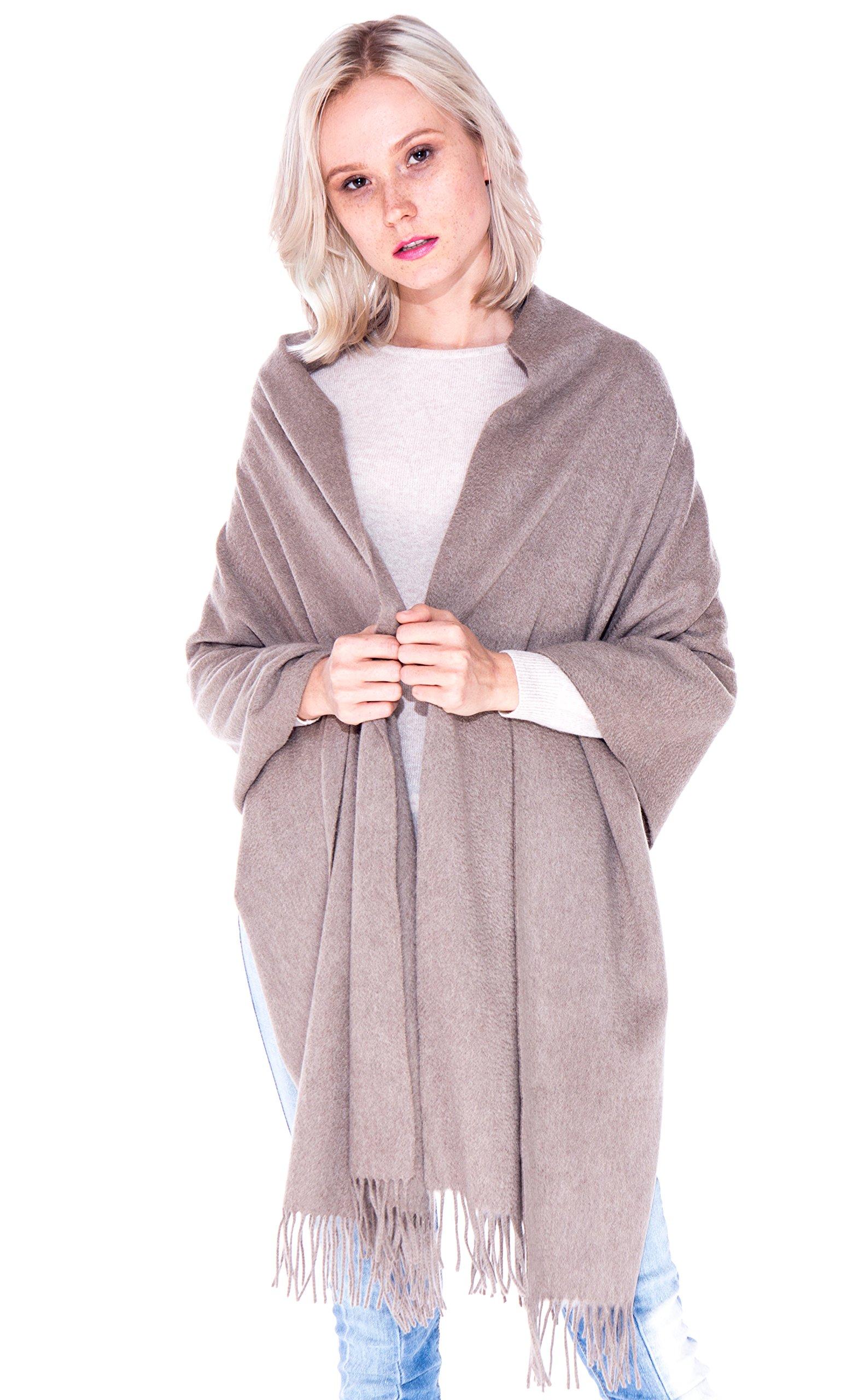 LEBAC 100% Cashmere Wrap Scarf Shawl With Fringes - Extra Large Super Soft & Warm Travel Throw Blanket