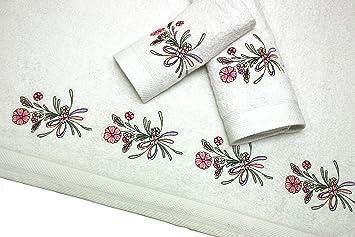Montse Interiors Juego de Toallas Bordadas 3 Piezas 550gr (Blanca Flores Nº18): Amazon.es: Hogar