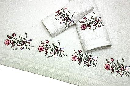 Montse Interiors Juego de Toallas Bordadas 3 Piezas 550gr (Blanca Flores Nº18)