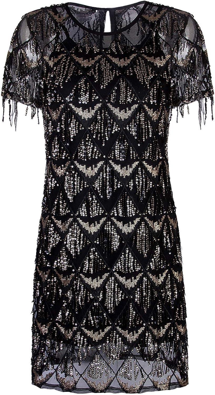 VIJIV Women's Sequin Fringe 1920 Short Prom Dress Art Deco Great Gatsby Flapper Party Dress with Short Sleeve