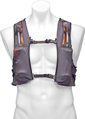 Nathan Vaporkrar Hydration Pack Running Vest, Includes two 12oz Flasks with Extended Straws, Compatible with 1.5L Reservoir Bladder, Men s