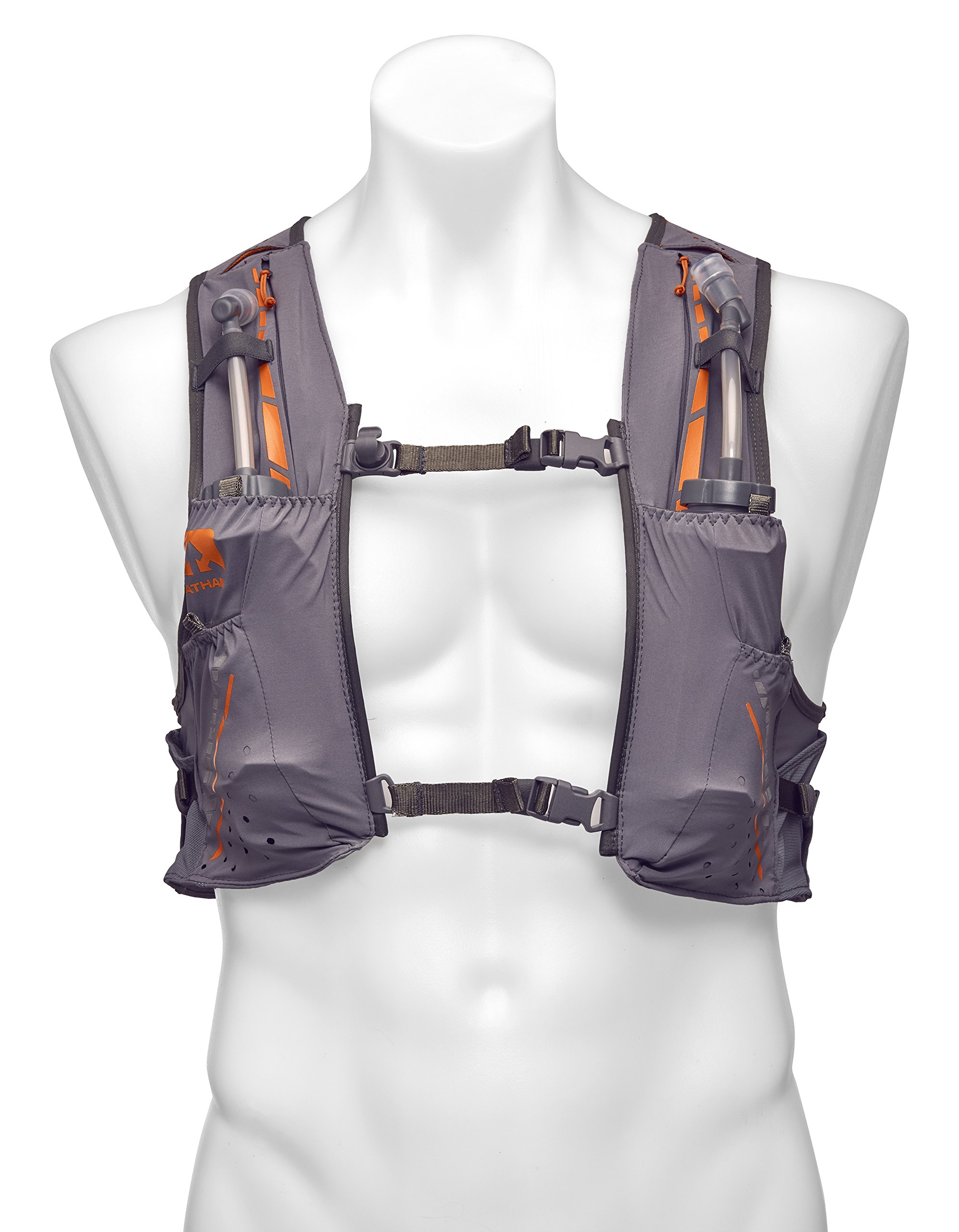 Nathan NS4535 Vaporkrar Hydaration Pack Running Vest with 1.8L Bladder, Steel Grey, Large