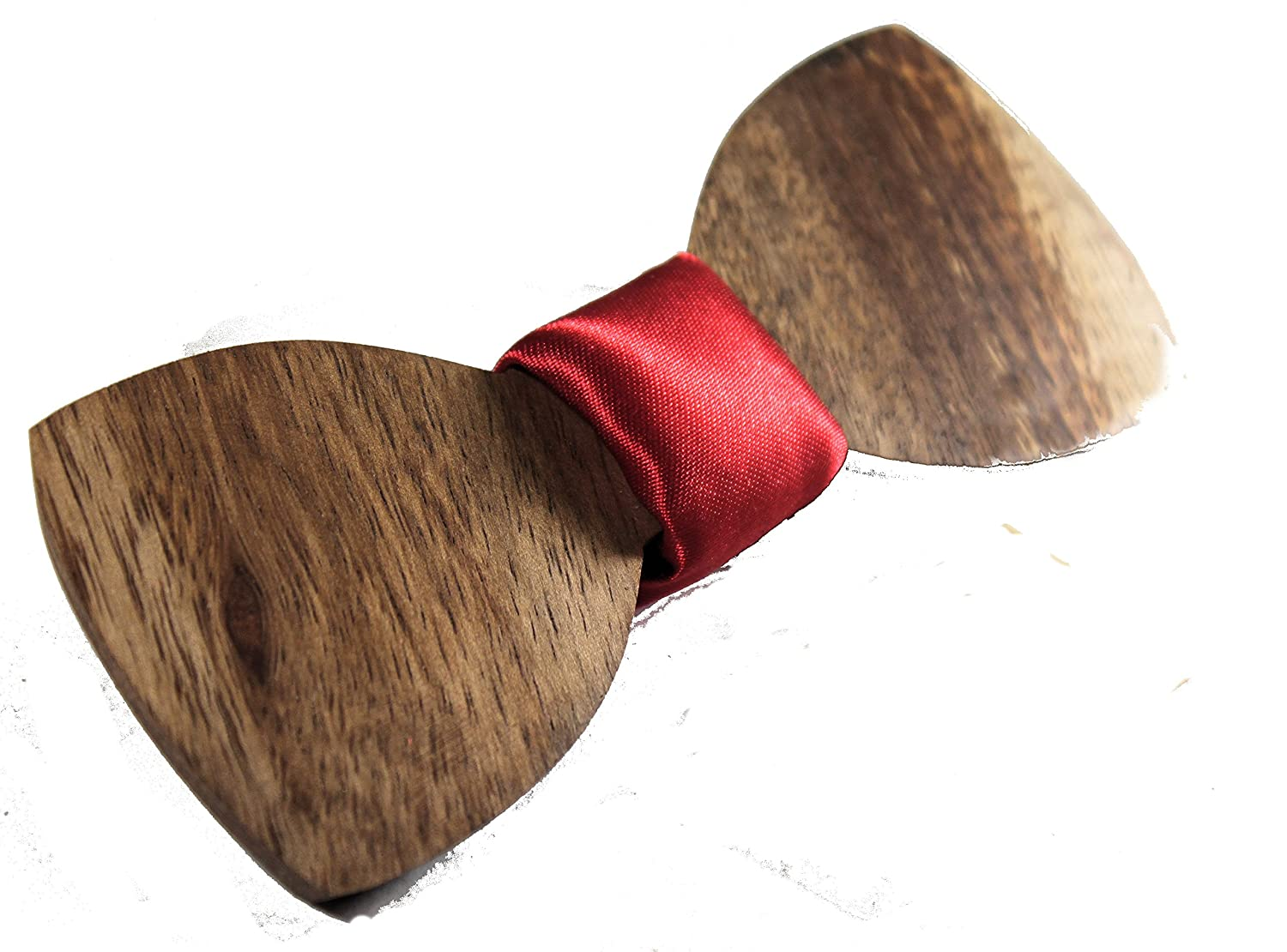 Solid Hawaiian Curl Koa Wood Bow Tie with Red Fabric Red