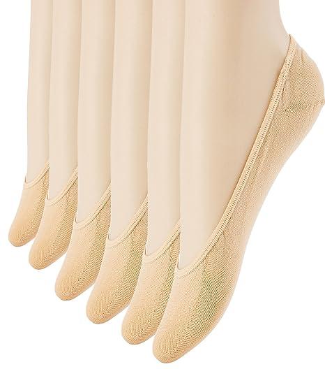 83695c74e Women s No Show Liner Socks 6 Pairs Thin Low Cut Casual Socks Non Slip  (beige