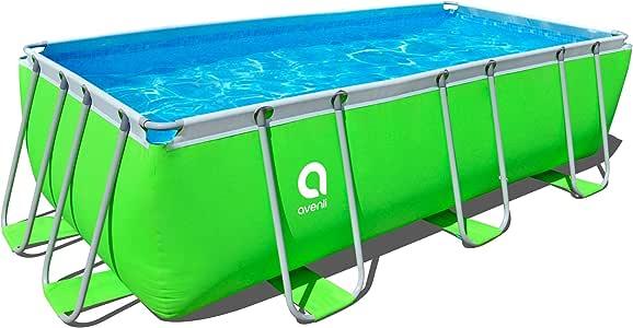 Piscina rectangular, con cartucho, Bomba de filtro y escalera, 400 x 200 x 99 cm, Passaat verde: Amazon.es: Jardín