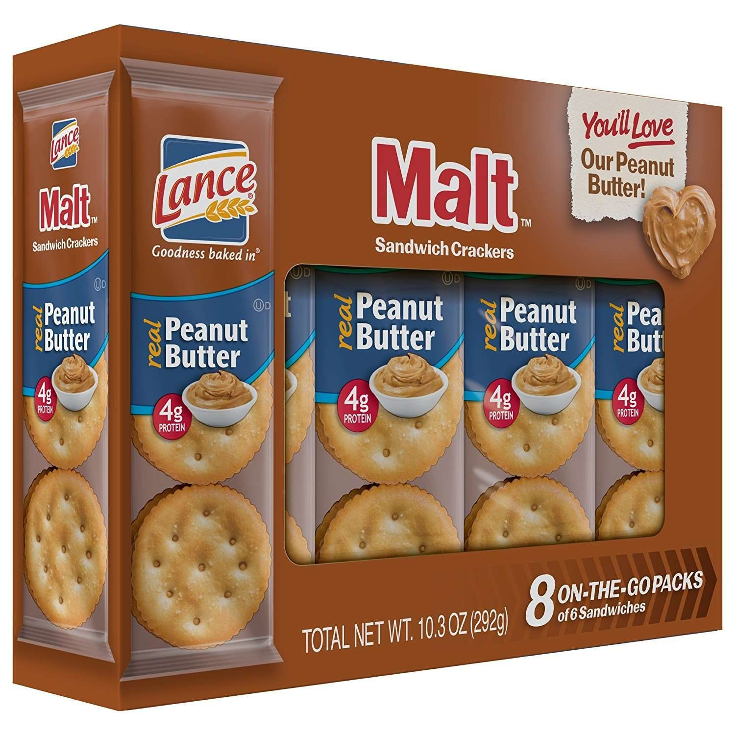 Lance Sandwich Crackers, Malt with Peanut Butter, 8-Count Boxes (Pack of 14) by Lance (Image #6)
