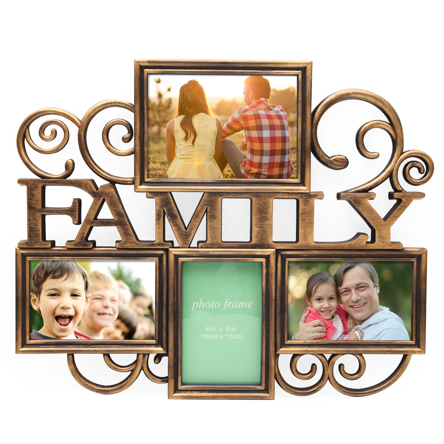 Deco De Ville 4/5/7/8 Opening LOVE Family Theme Plastic Wall Photo Frame Decorative Antique Puzzle Collage Picture Frame (PF0609-1, 1)