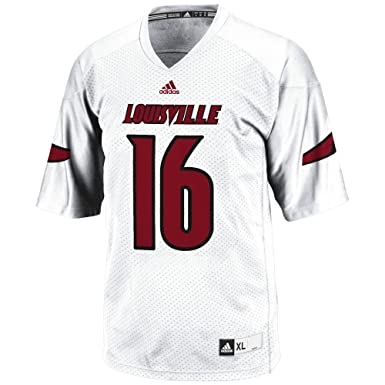 the latest 60c33 932e4 adidas Adult Men NCAA 3-Stripe Football Jersey, X-Large, White, Louisville  Cardinals