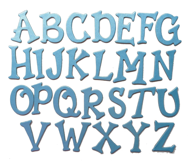 Shimmer Chipboard Handcut 1.5 Alphabat Letters 60 Pieces Stickers Fun Serif Fnnt Uppercase Light Blue