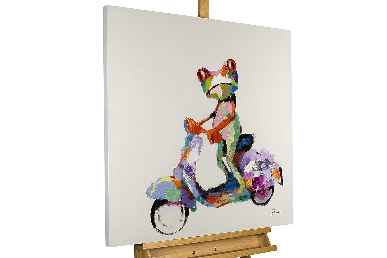 KunstLoft® KunstLoft® KunstLoft® Acryl Gemälde 'Ein Frosch in Rom' 80x80cm   original handgemalte Leinwand Bilder XXL   Bunter Frosch auf Vespa Roller für Babyzimmer   Wandbild Acrylbild moderne Kunst einteilig mit Rahmen 54f591