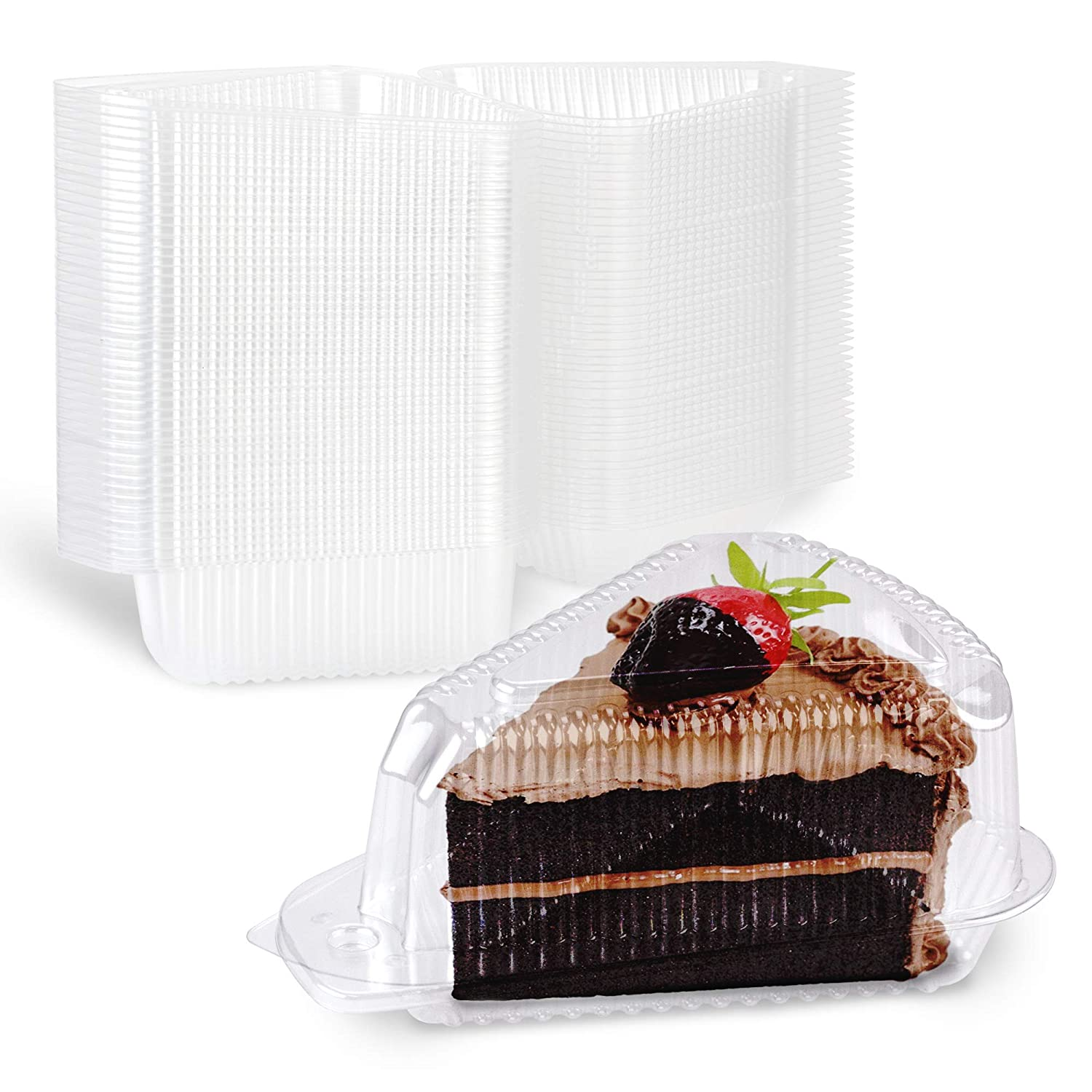 """[50 Pack] Cake Slice Plastic Containers with Lids - Single 5"""" Clear Medium Dome Hinged Lid Cheesecake Container, Pie Dessert, Food Box, Take Out Togo Packaging for Home, Bakery and Cafe Business"""
