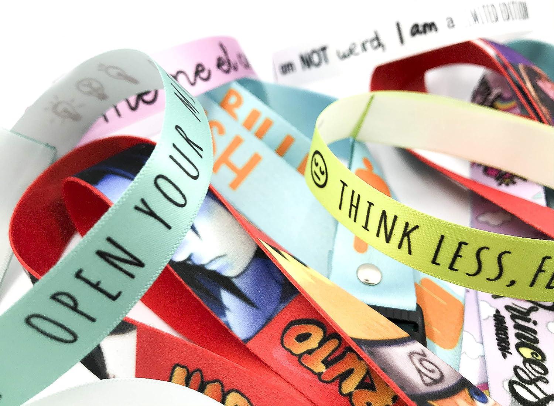 Pulseras personalizadas para bodas, despedidas de soltero, comuniones, cumpleaños | Pulseras de tela personalizadas con frase | Pack de 25 unidades | Impresas en calidad HD | Pulseras baratas.: Amazon.es: Hogar