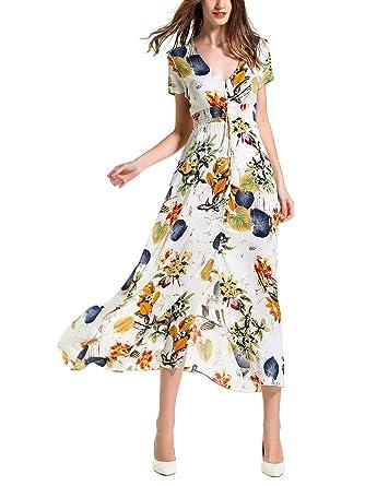 75fcdc6d8a KUONUO Femme Robe Floral Longue Col V à Fleur Manches Courtes en Coton  Bohême Robe Maxi