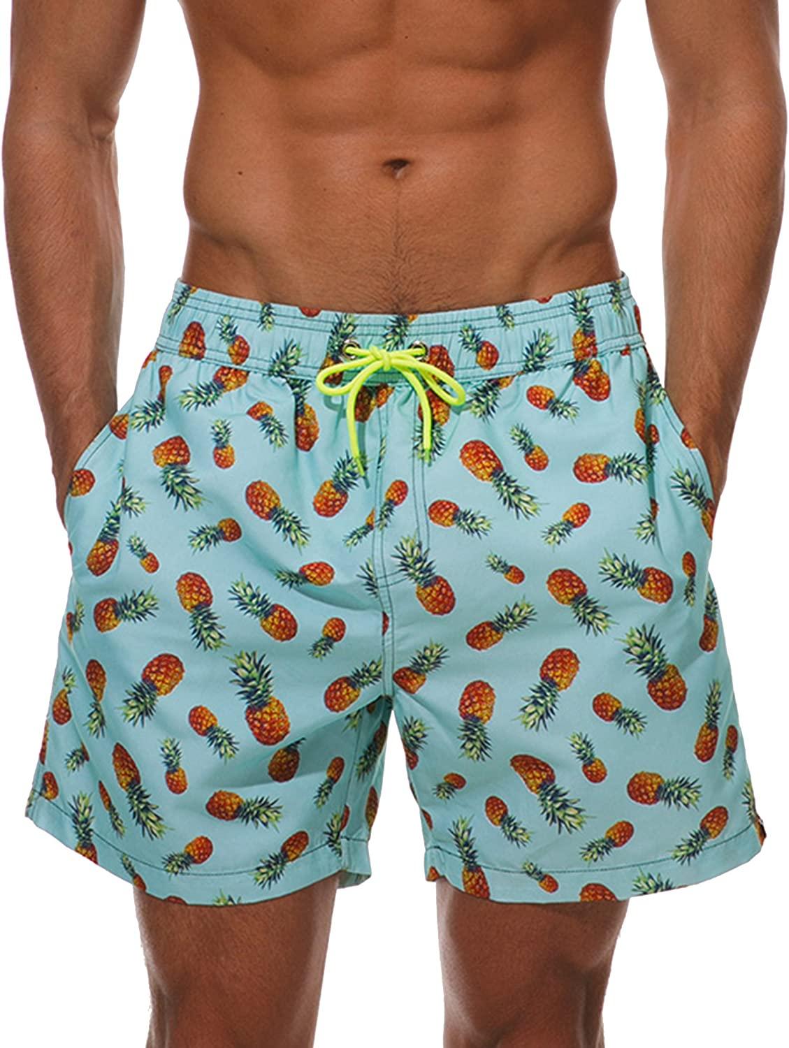 WEVIAS Mens Short Swim Trunks Quick Dry Breathable Sports Beach Surfing Running Swimming Board Shorts Mesh Lining