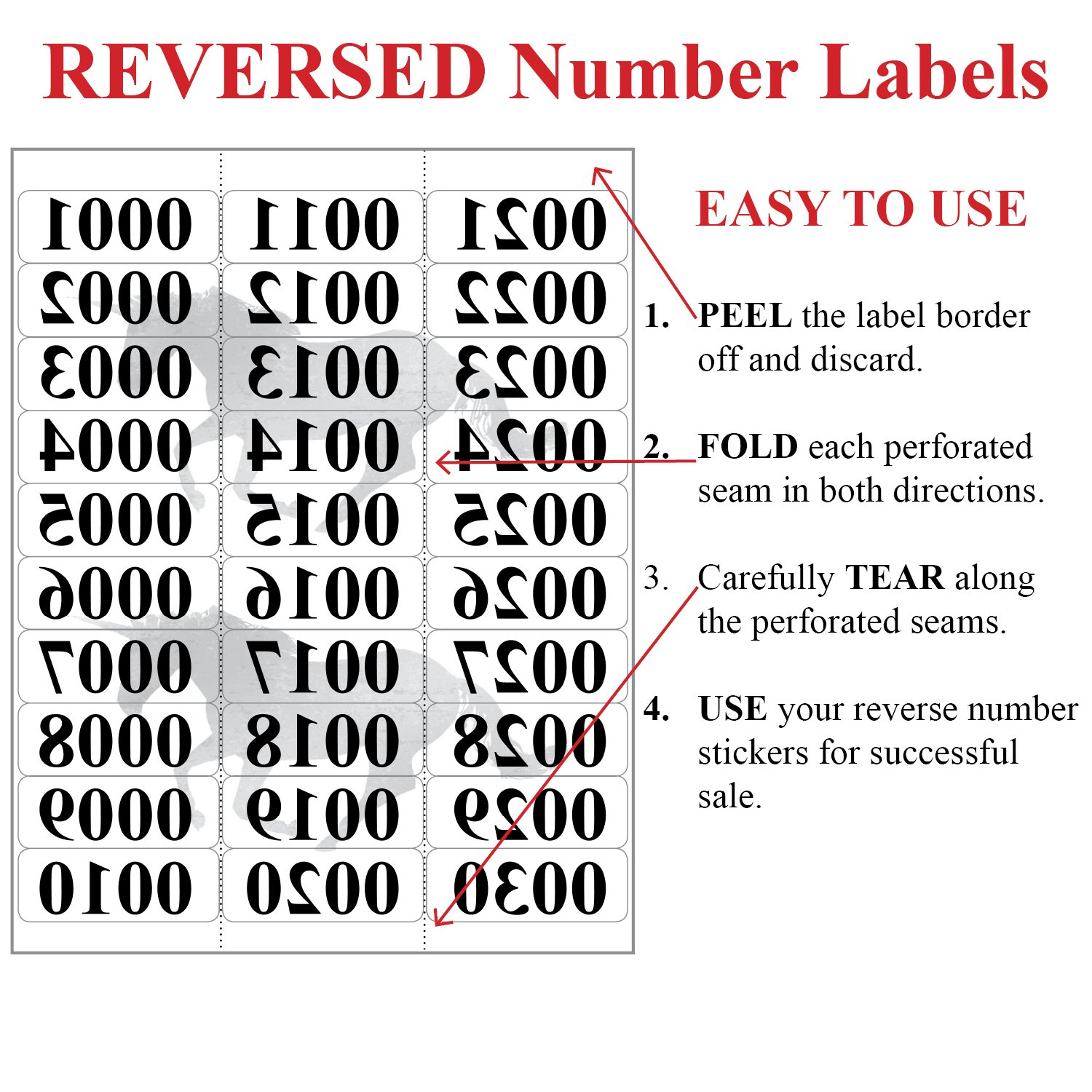 Amazon.com : Reverse Number Sticker Labels   0001 - 1000 Mirrored ...