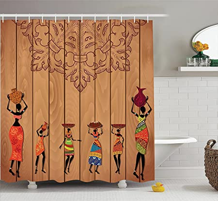 African Decorations Shower Curtain Set Ancient Girl Images On VintageWooden Texture Ethnic Female Fashion Art