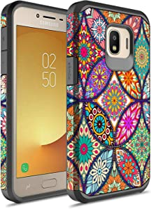 Samsung Galaxy J2 Core Case, Galaxy J2 Pure Case, Galaxy J2 Dash Case, Rosebono Hybrid Shockproof Hard Cover Graphic Fashion Colorful Cover Armor Case for Samsung Galaxy J260 (Colorful Mandala)